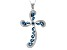 London Blue Topaz Sterling Silver Cross Pendant With Chain 4.06ctw