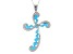Blue Turquoise Sterling Silver Cross Pendant With Chain .16ctw