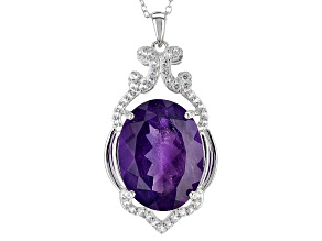 Purple Amethyst Sterling Silver Pendant With Chain 14.56ctw