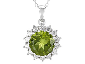 Green Peridot Sterling Silver Pendant With Chain 4.80ctw