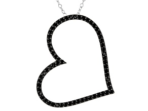 Black Spinel Sterling Silver Pendant With Chain .64ctw