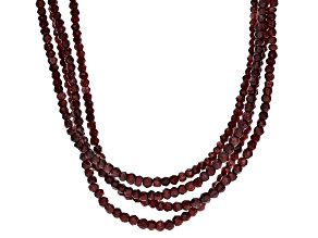 Red Garnet Sterling Silver Necklace 370.00ctw