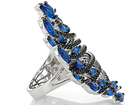 Blue Lab Created Spinel Sterling Silver Ring 3.66ctw