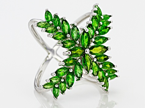 Green Chrome Diopside Sterling Silver Ring 4.44ctw