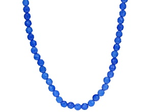 Blue Onyx Rhodium Over Sterling Silver Necklace