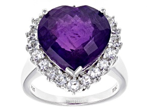 Purple Amethyst Sterling Silver Ring 9.94ctw