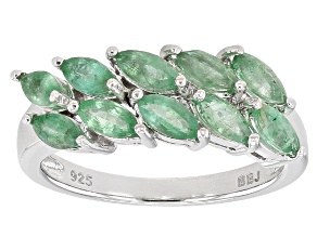 Green Emerald Sterling Silver Ring 1.10ctw
