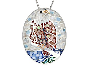 Multicolor Mosaic Mother Of Pearl Eagle Silver Pendant With Chain