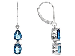London Blue Topaz Sterling Silver Dangle Earrings 2.78ctw