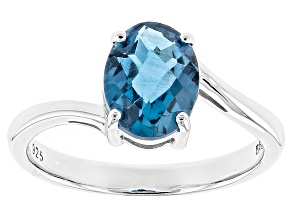 London Blue Topaz Rhodium Over Sterling Silver Solitaire Ring 1.84ct