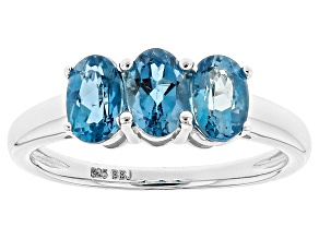 London Blue Topaz Rhodium Over Sterling Silver 3-Stone Ring 1.27ctw