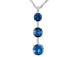 London Blue Topaz Rhodium Over Sterling Silver 3-Stone Pendant With Chain 3.99ctw
