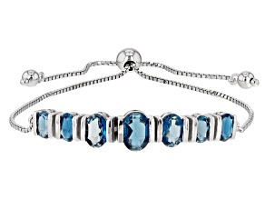 London Blue Topaz Sterling Silver Bolo Bracelet 4.41ctw