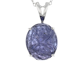 Blue Tanzanite Sterling Silver Pendant With Chain 10.52ct