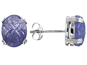 Blue Tanzanite Sterling Silver Stud Earrings 5.09ctw