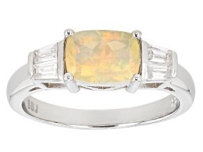Multicolor Ethiopian Opal Sterling Silver Ring 1.26ctw