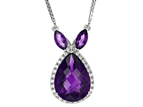 Purple Amethyst Sterling Silver Necklace 10.16ctw