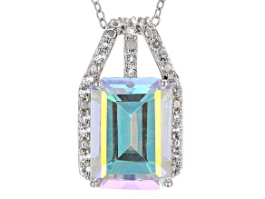 Mercury Mist® Mystic Topaz® Rhodium Over Silver Pendant With Chain 8.46ctw