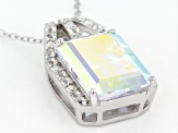 Mercury Mist® Topaz Rhodium Over Sterling Silver Slide With Chain 8.46ctw