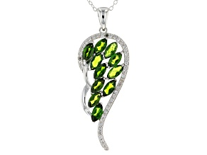 Green Chrome Diopside Sterling Silver Wing Pendant With Chain 2.79ctw