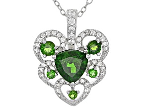Green Chrome Diopside Sterling Silver Heart Pendant With Chain 1.74ctw