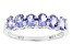 Blue Tanzanite Rhodium Over Sterling Silver Ring .84ctw