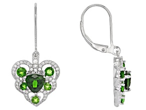 Green Chrome Diopside Sterling Silver Heart Earrings 3.00ctw