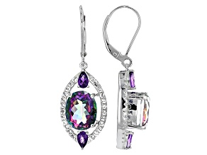 Multi Color Quartz Sterling Silver Earrings 7.39ctw
