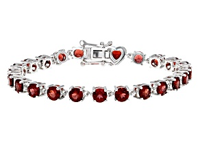 Red Garnet Sterling Silver Bracelet 14.41ctw