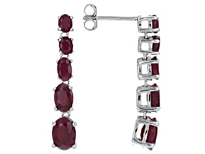 Red indian Ruby Sterling Silver Dangle Earrings 4.49ctw