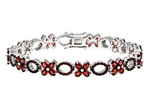 Red Garnet Sterling Silver Bracelet 10.97ctw
