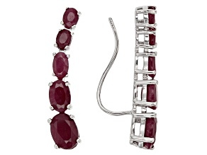 Red Ruby Sterling Silver Climber Earrings 4.49ctw