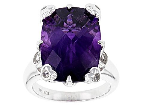 Purple Amethyst Sterling Silver Ring 12.39ctw