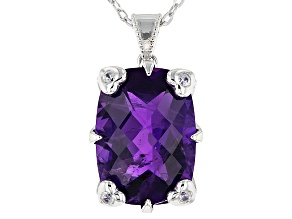 Purple Amethyst Silver Pendant With Adjustable Chain 12.10ctw