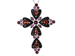 Raspberry Color Rhodolite Silver Cross Slide With Chain 12.99ctw