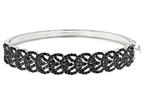 Black Spinel Sterling Silver Hinged Bangle Bracelet 4.22ctw