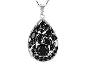 Black Spinel Sterling Silver Pendant With Chain 6.15ctw