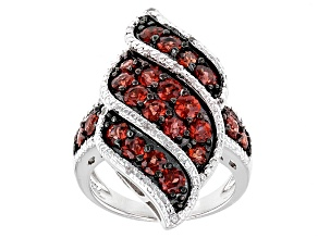Red Garnet Sterling Silver Ring 3.13ctw