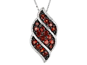 Red Garnet Sterling Silver Pendant With Chain 2.65ctw