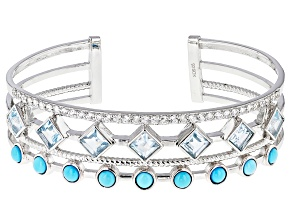 Blue Turquoise Sterling Silver Cuff Bracelet 6.38tw