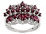 Raspberry color Garnet Sterling Silver Ring 2.62ctw
