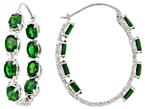 Green Chrome Diopside Silver inside/Outside Hoop Earrings 10.88ctw