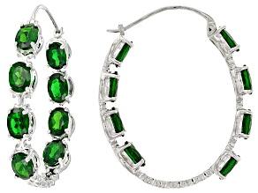 Green Chrome Diopside Silver inside/Outside Hoop Earrings 10.88ctw