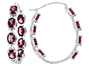 Purple Rhodolite Sterling Silver Hoop Earrings 14.45ctw