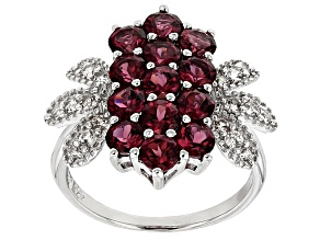 Purple Rhodolite Sterling Silver Ring 2.97ctw