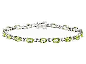 Green Peridot Sterling Silver Bracelet 8.24ctw