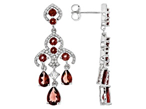 Red Garnet Silver Earrings 6.05ctw