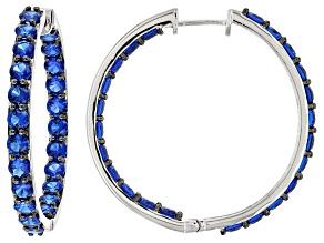 Blue Lab Created Spinel Sterling Silver Hoop Earrings 10.95ctw