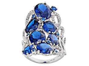 Blue Lab Created Spinel Sterling Silver Ring 13.63ctw