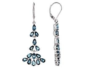Blue Topaz Sterling Silver Earrings 6.63ctw